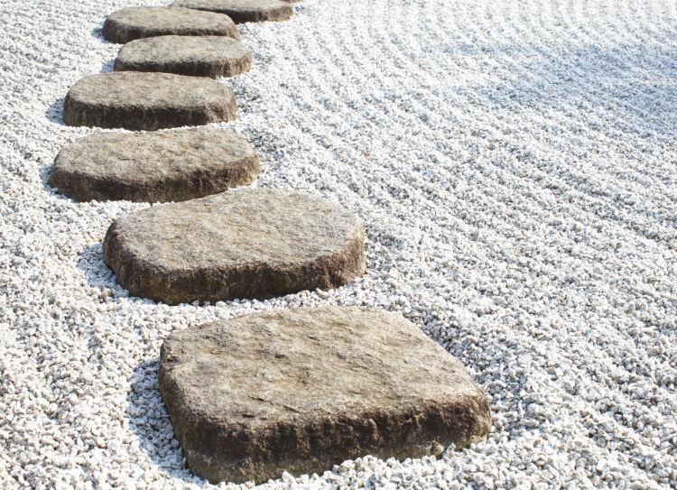 Large stepping stones in a Zen rock garden