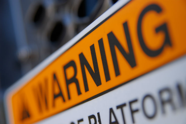 Warning sign close up