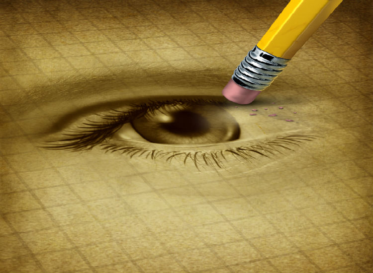 A sketch of an eye with the end of a pencil erasing it