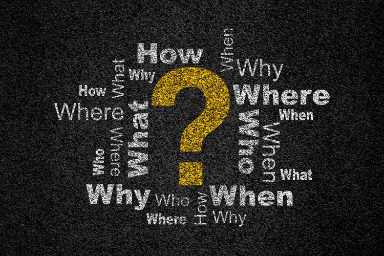 "A large question mark surrounded by the words ""who, what, when, where, and why"""