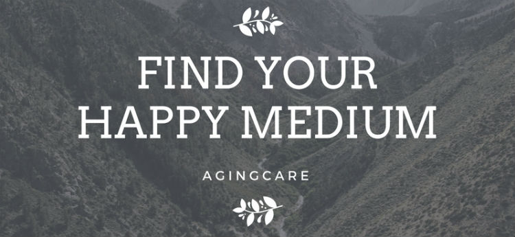 "Text saying ""find your happy medium"" with mountains in backgroun"