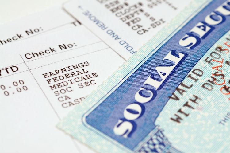 Social Security card on document