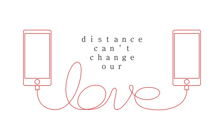 "Two mobile phones connected by a cord with text in between reading ""distance can't change our love"""