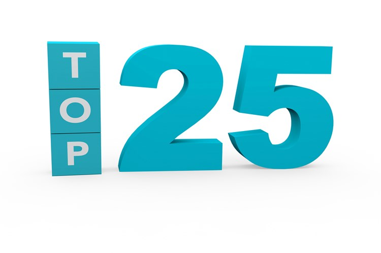 "Three letter blue letter blocks stacked vertically that spell out ""top"" with a large number 25 next to them"