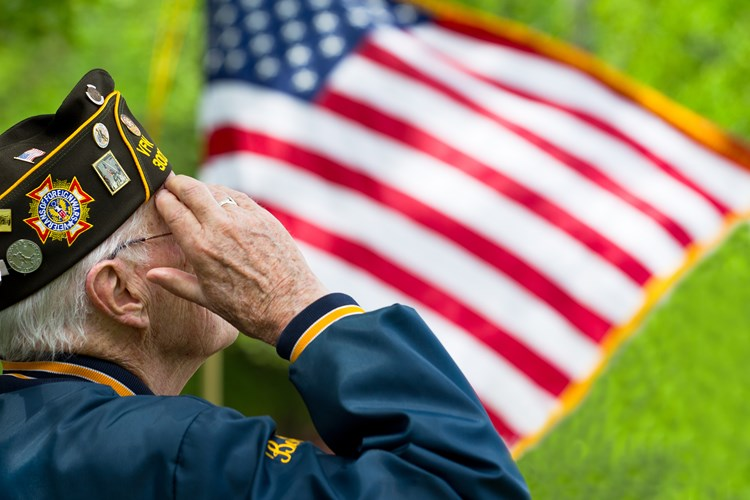 An elder veteran saluting an american flag waving in the distance