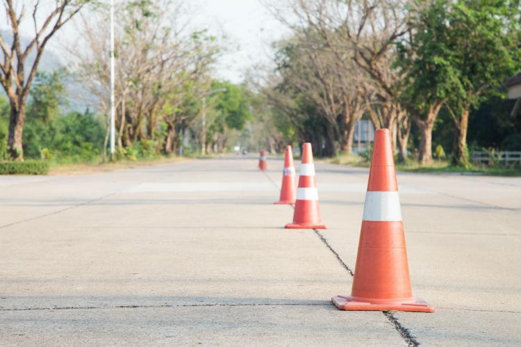 Driving school cones