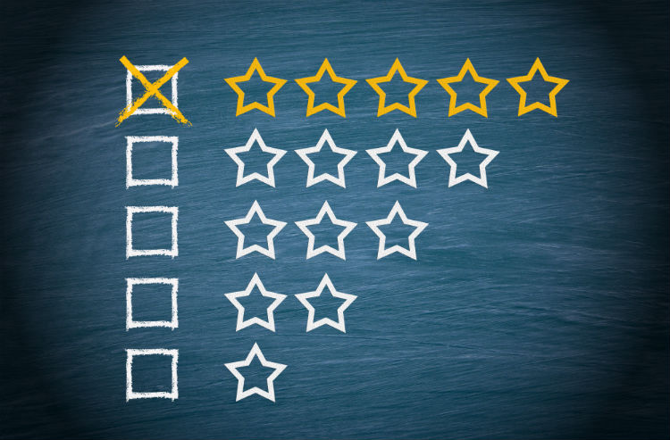 Star ratings with 5 star rating box checked