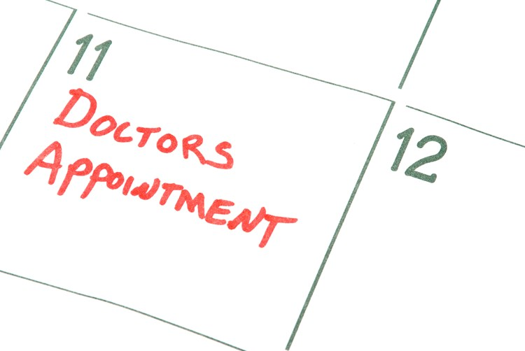 Close up on a calendar that indicates a doctors appointment is apporaching