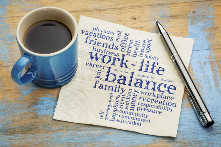 Work life balance word cloud - handwriting on a napkin with a cup of coffee