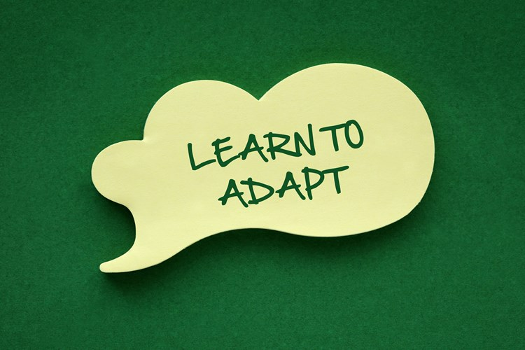 "A word bubble on top of green background with text inside that reads ""learn to adapt"""