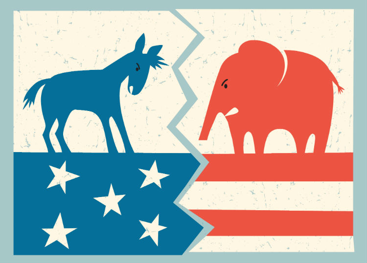 Democrat donkey versus republican elephant political illustration