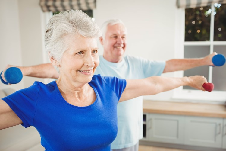 Two elder adults performing exercises with small hand weights