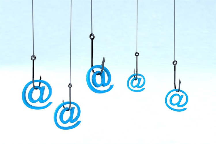 A cartoon image of hanging fishing hooks with email @ signs hooked on the barbs
