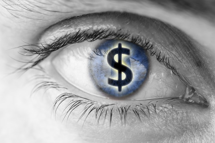 Close up on human eye with a dollar sign in the pupil