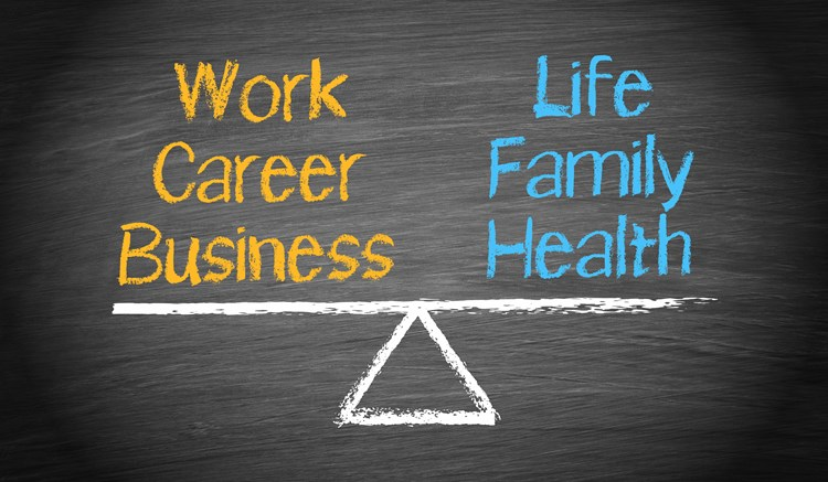 "A balanced scale drawn on a chalk board with ""work career business"" on the left side and ""life family health"" on the right side"