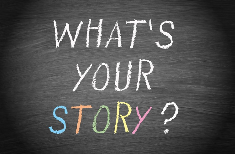 "Text on a chalkboard that reads ""what's your story"""
