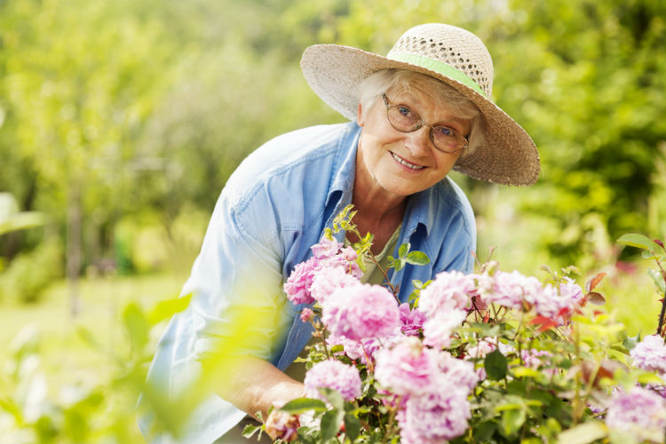Senior woman with dementia participating in a gardening activity
