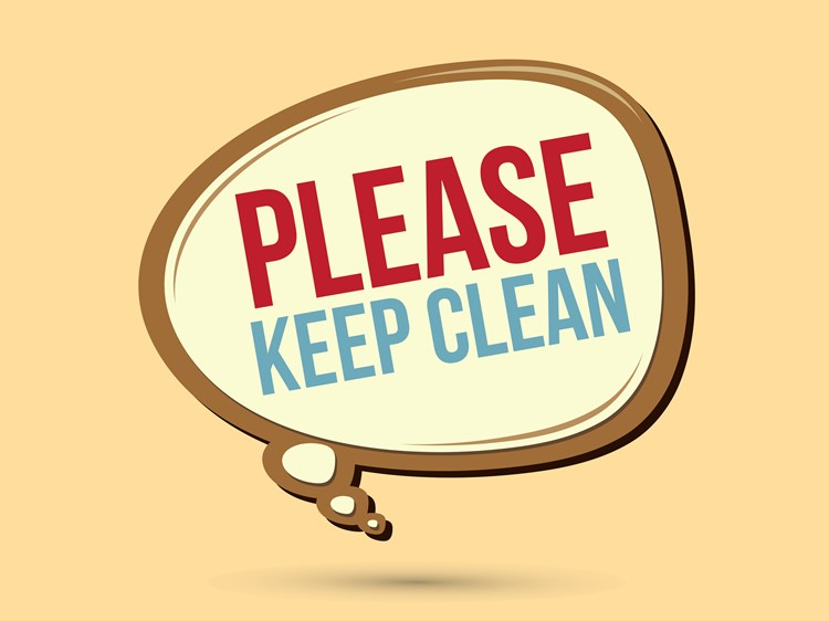 "A word bubble with text that reads ""please keep clean"" in capital letters"