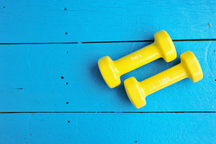 Yellow weights on blue background