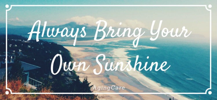 """Text """"always bring your own sunshine"""" with beach behind"""
