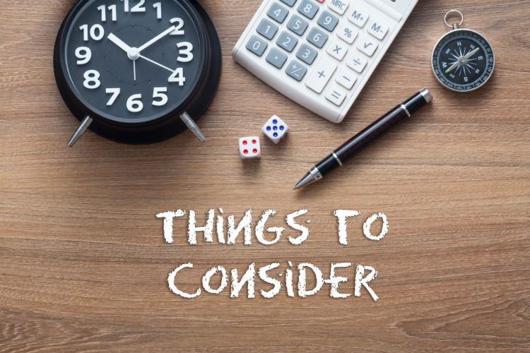 "A clock, compass, dice, calculator, and a pen above the words ""things to consider"""